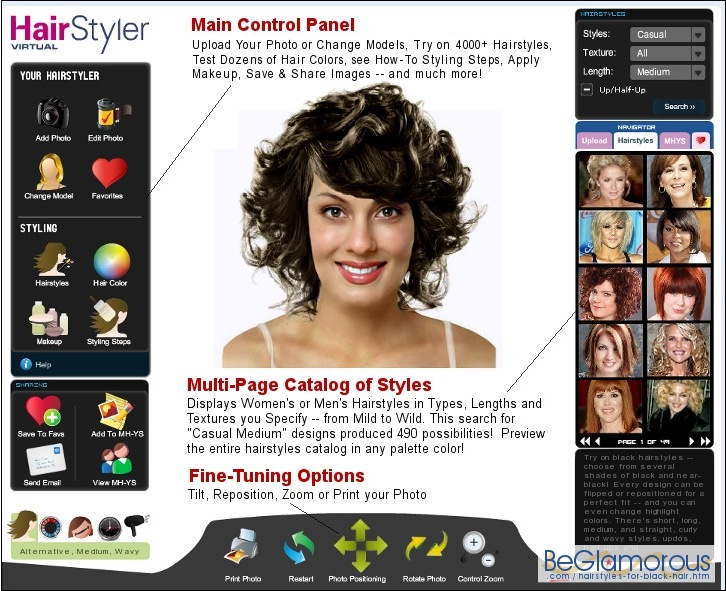Try virtual black hairstyles  on your face photo, online