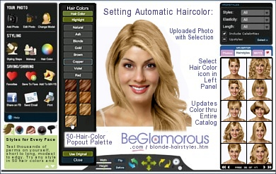 Test dye your hair blonde,  online, with virtual hairstyles  on your face photo
