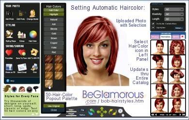 Upload your photo, try bob hairstyles