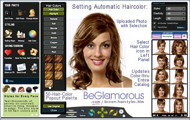 Test dye your hair brown,  online, with virtual hairstyles  on your face photo