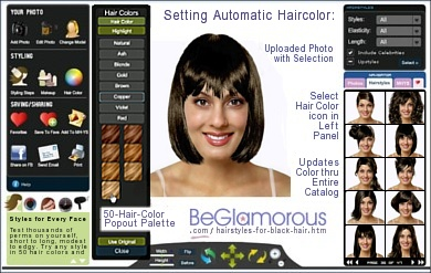 Test dye your hair black,  online, with virtual hairstyles  on your face photo