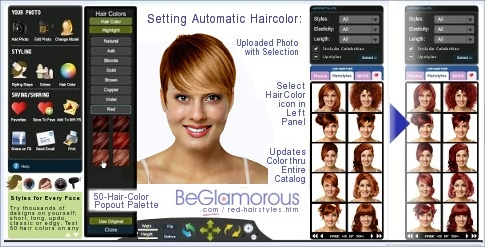 Test dye your hair red,  online, with virtual hairstyles  on your face photo