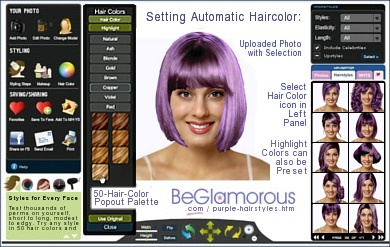 Test dye your hair purple,  online, with virtual hairstyles  on your face photo