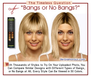 Test different virtual hairstyle  bangs / fringe types on your face